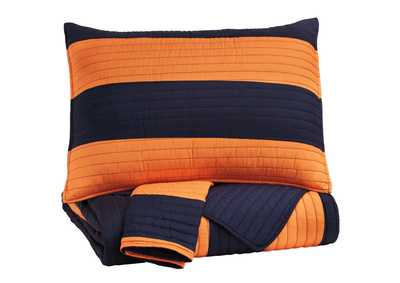 Nixon Navy/Orange Full Coverlet Set
