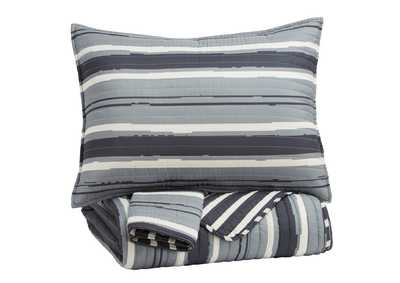 Image for Merlin Gray/Cream Full Coverlet Set