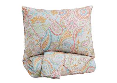 Jessamine Pink/Orange Full Coverlet Set