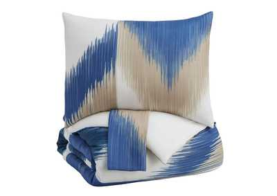 Mayda Blue/Off White King Comforter Set