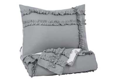 Meghdad Gray/White 2-Piece Twin Comforter Set
