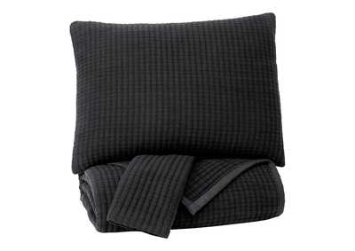 Thornam Black 3-Piece King Coverlet Set