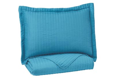 Raleda Turquoise Twin Coverlet Set