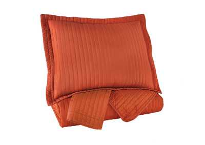 Image for Raleda Orange Queen Coverlet Set