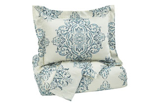 Fairholm Turquoise Queen Duvet Cover Set