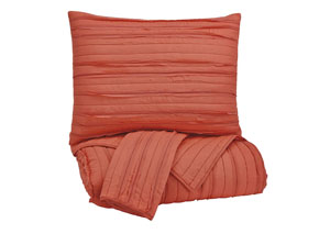 Solsta Coral Queen Coverlet Set
