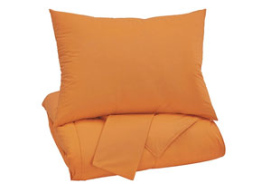 Plainfield Orange Full Comforter Set