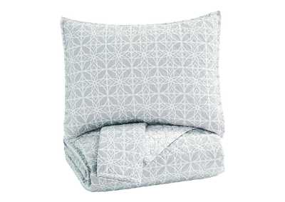 Image for Mayda Gray/White 3-Piece Queen Quilt Set