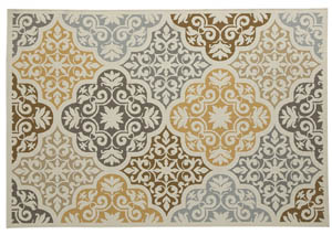Lacy Brown/Gold Large Rug