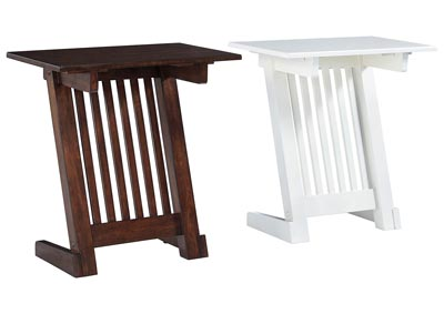 Braunner White and Dark Brown Chair Side End Tables (2 per Set)