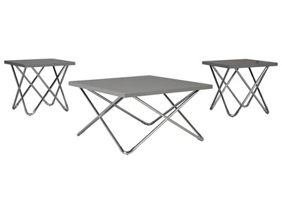 Dashard 3 Piece Gray Occasional Table Set