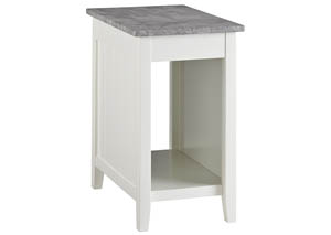 Diamenton White Chairside End Table w/Marble Top