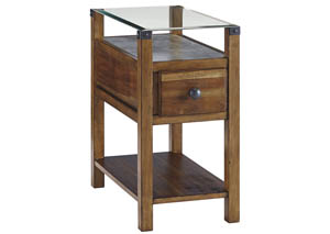 Diamenton Brown Chairside End Table w/Glass Top