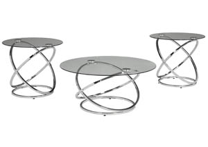 Hollynyx Chrome Occasional Table Set (Set of 3)
