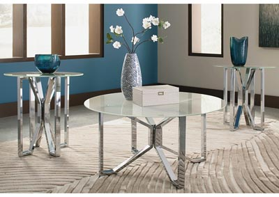 Tangeline Brushed Nickel Occasional Table Set
