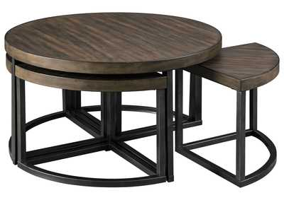 Johurst Grayish Brown/Black Coffee Table w/4 Stool (Set of 5)