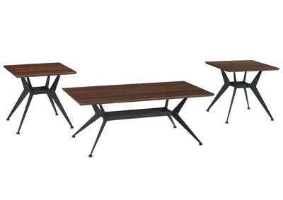 Liamburg Brown/Black Occasional Table Set