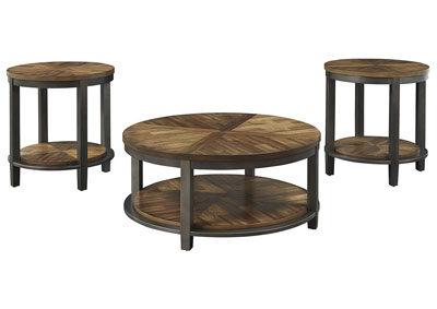 Roybeck Light Brown/Bronze Occasional Table Set (Set of 3)