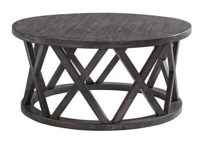 Sharzane Grayish Brown Round Cocktail Table