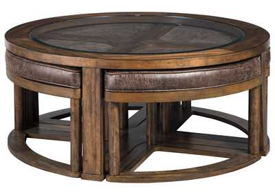 Image for Hannery Brown Coffee Table w/Stools (Set of 5)
