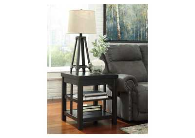 Gavelston Rubbed Black Square End Table