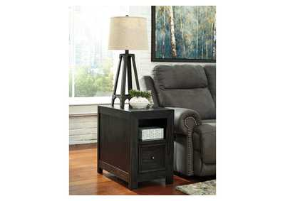 Gavelston Rubbed Black Chair Side End Table