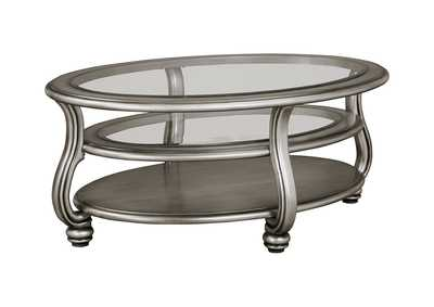 Image for Coralayne Silver Finish Oval Cocktail Table