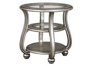 Coralayne Silver Finish Round End Table