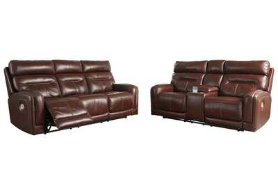 Sessom Walnut Power Reclining Sofa & Loveseat w/Adjustable Headrest and Console