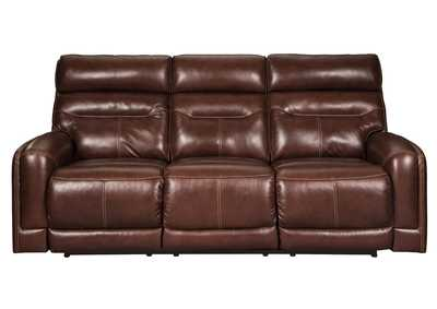 Sessom Walnut Power Reclining Sofa w/Adjustable Headrest