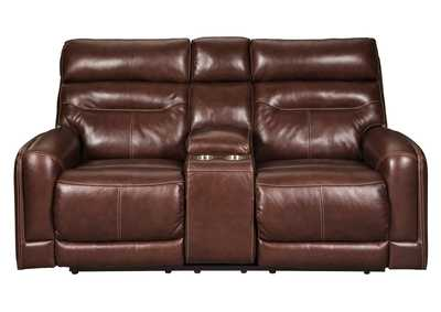 Sessom Walnut Power Reclining Loveseat w/Adjustable Headrest and Console