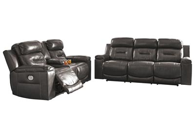 Pomellato Gray Power Reclining Sofa & Loveseat w/Adjustable Headrest & Console