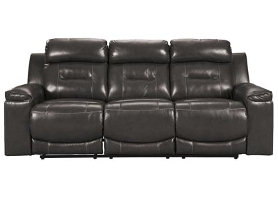 Pomellato Gray Power Reclining Sofa w/Adjustable Headrest