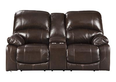 Image for Hallstrung Chocolate Power Reclining Loveseat w/Adjustable Headrest & Console
