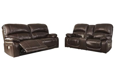 Hallstrung Chocolate Power Reclining Sofa Loveseat w/Adjustable Headrest & Console