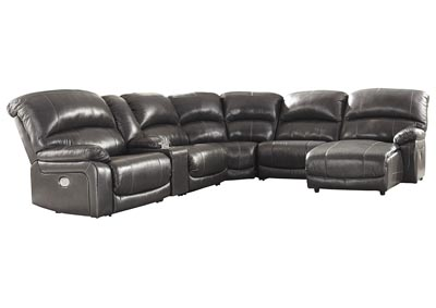 Hallstrung Gray Power Reclining RAF Chaise Sectional w/Console