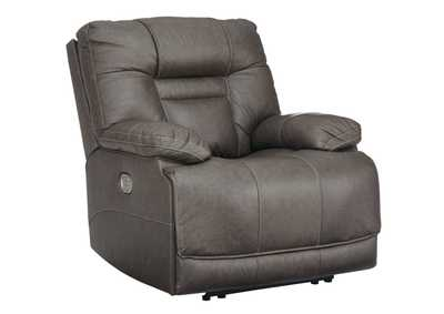 Wurstrow Smoke Power Recliner w/Adjustable Headrest