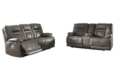 Wurstrow Smoke Power Reclining Sofa & Loveseat w/Adjustable Headrest