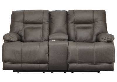 Image for Wurstrow Smoke Power Reclining Loveseat w/Console & Adjustable Headrest