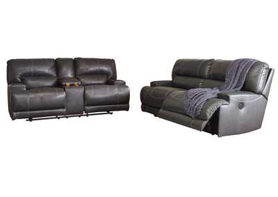 McCaskill Gray 2 Seat Reclining Sofa & Double Reclining Loveseat w/Console