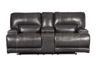 McCaskill Gray Double Reclining Loveseat w/Console
