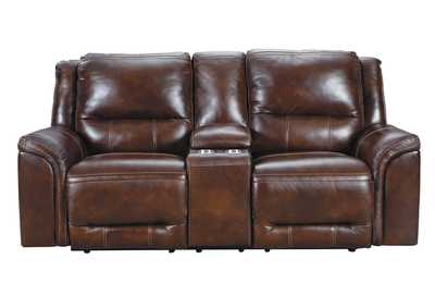 Catanzaro Mahogany Power Reclining Loveseat w/Console & Adjustable Headrest