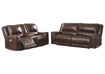 Catanzaro Mahogany Power Reclining Sofa & Loveseat w/Adjustable Headrest