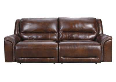 Catanzaro Mahogany 2 Seat Power Reclining Sofa w/Adjustable Headrest