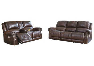 Buncrana Chocolate Power Reclining Sofa & Loveseat w/Adjustable Headrest