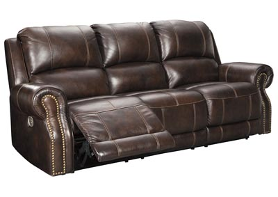 Buncrana Chocolate Power Reclining Sofa w/Adjustable Headrest