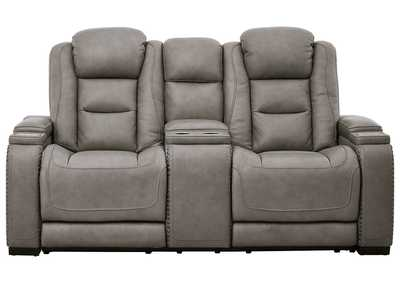 The Man-Den Gray Power Reclining Loveseat w/Console