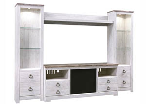 Willowton Whitewash Entertainment Center w/Large Integrated Audio