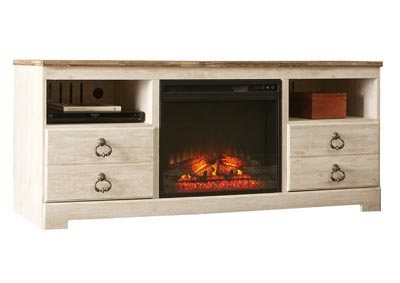 "Image for Willowton Whitewash 64"" TV Stand w/Fireplace Insert Infrared"