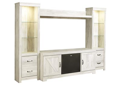 Bellaby Whitewash Entertainment Center w/Black Large Integrated Audio